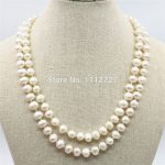 Accessories White Natural Freshwater Pearl Lucky Beads 2ROWS Necklace Chain Women <b>Jewelry</b> <b>Making</b> Design Women Girls Gifts 7-8mm