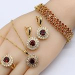 Round Red CZ Gold Color Women Wedding <b>Jewelry</b> Sets For Bride Perfect Zircon <b>Necklace</b> Sets Choker Ring Dangle Earrings Bracelet