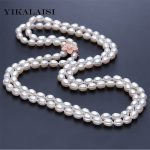 YIKALAISI 2017 100% Long Natural Pearl Real Water Drop Pearl Fashion Freshwater Cultured Genuine Pearls Choker Women's Gifts