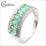 Luxurious natural emerald ring 9 pcs 4*2mm natural emerald solid 925 <b>sterling</b> <b>silver</b> emerald ring classic emerald <b>silver</b> <b>jewelry</b>