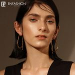 Enfashion Geometric Big Hoop Earrings Gold color Line Earings Stainless Steel Earrings For Women <b>Jewelry</b> Wholesale