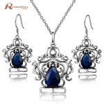 Princess Diana Vintage 925 Sterling <b>Silver</b> Jewelry Sets Blue Rhinestone Crystal Drop <b>Earrings</b> and Pendant Set Women Gift
