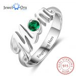 """Word """"Mom"""" Shape Personalized Gift For Mother Birthstone Rings For Women 925 Sterling Silver <b>Jewelry</b> (JewelOra RI103288)"""