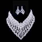 <b>Silver</b> Tone Crystal Tennis Choker Necklace/<b>Earrings</b> Set Factory Price Wedding Bridal Bridesmaid African women Jewelry Sets N135