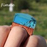 <b>Handmade</b> Wood Resin Ring for Women Wooden Transparent Beautiful Snow Mountain Band Women's <b>Jewelry</b> Fashion Elegant Wood Rings