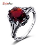 Szjinao Turkish <b>Jewelry</b> 100% 925 Sterling Silver Rings Oval Design Garnet Bohemian <b>Handmade</b> Victoria Wieck Rings For Women