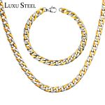 LUXUSTEEL Width 8mm Length 50/55/60cm Chain Necklace Stainless Steel Chain Necklace Braclet Sets For Men/Boy <b>Accessories</b>