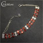 Dazzling garnet <b>bracelet</b> for woman 24 pcs 4 mm garnet <b>silver</b> <b>bracelet</b> solid 925 <b>silver</b> garnet jewelry birthday for woman