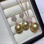 free shipping Jewelry huge 10-11mm south sea round gold pearl <b>necklace</b> 14