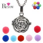 Aromatherapy <b>Jewelry</b> <b>Antique</b> Silver Rose Flower Hollow Cage Locket Chime Ball Bell Pendant Essential Oil Diffuser Necklace