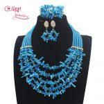New <b>Handmade</b> Nigerian Wedding African Coral Beads <b>Jewelry</b> Set Blue Coral Beads Necklace <b>Jewelry</b> Set Free Shipping W13898