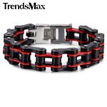 Trendsmax Multi Colors Biker Motorcycle Link 316L Stainless Steel Bracelet Wholesale Boys Mens Chain Sport <b>Jewelry</b> HBM56
