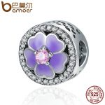 BAMOER Authentic 925 Sterling Silver Blooming Daisy Flower Round Beads fit Women Charm Bracelet & Bangles <b>Jewelry</b> Gift SCC388