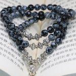 Natural stone new fashion 6mm snowflake obsidian round beads multilayer bracelets original design gifts <b>jewelry</b> <b>making</b> B2243