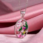 RainMarch Bohemian Enamel Flower Silver Pendant For Women Necklace 925 Sterling Silver Necklace Pendant <b>Handmade</b> Party <b>Jewelry</b>