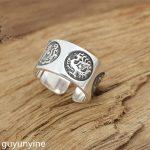 KJJEAXCMY Boutique <b>jewelry</b> S999 sterling silver <b>jewelry</b>, <b>handmade</b> antique Thai silver ring, men's money, silver four rings.