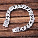 MetJakt Men's Classic Punk Link <b>Bracelet</b> with Totem Solid 925 Sterling <b>Silver</b> <b>Bracelet</b> for Male Biker Vintage Jewelry 21cm