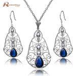 Luxury Korea 925 Sterling <b>Silver</b> Natural Pearl Set Vintage Blue Stone Crystal Pendant <b>Earrings</b> Women Bridal Wedding Accessories