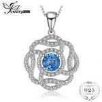 JewelryPalace Flower 1 ct Natural London Blue Topaz <b>Necklaces</b> Pendants 925 Sterling <b>Silver</b> 45cm Box Chain For Women Fine Jewelry
