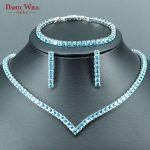 DANDY WILL Luxury Bridal Jewelry Sets For Women Wedding Sky Blue CZ Handmade Rhinestone <b>Silver</b> Color Necklace/<b>Earrings</b>