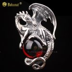 Bahamut 925 Sterling <b>Silver</b> Black Red Dragon King <b>Necklace</b> Pendant Free With Chain