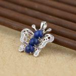 FNJ 925 Silver Butterfly Pendant New Fashion Lapis Lazuli 100% Pure S925 Solid Thai Silver Pendants for Women Men <b>Jewelry</b> <b>Making</b>