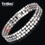Hottime 66 PCS Energy Stone 316L Stainless Steel Magnetic Bracelet & Bangle <b>Silver</b> Germanium Bracelets Fashion Men Women <b>Jewelry</b>