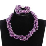 Mix Purple Pearls and Natural Stones Twisted Necklace Bracelet <b>Jewelry</b> Set <b>Handmade</b> African Wedding Beads Jewellery Set FP169