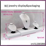 Elagance Exquisite White Leatherette Wooden Set <b>Jewelry</b> Display Showcase For Long <b>Necklace</b> Pendant Chain Stand Holder Organizer