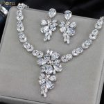 Pera Luxury Silver Color Fairy Sparkling CZ Crystal Bridal Wedding Big Drop Earrings And Necklace <b>Jewelry</b> Set For Brides J139