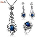 Szjinao 925 Sterling <b>Silver</b> African Party Jewelry Sets With Sapphire For Women Costume <b>Earring</b> Pendant Ring Wholesale