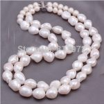 Wedding Party Real Pearl 10-11mm AAA Natural White Pearl <b>Handmade</b> 2 Layer Necklace Women <b>Jewelry</b> Freshwater Fashion Gift