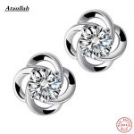 Ataullah Natural Crystal Fine 925 Sterling <b>Silver</b> Stud <b>Earrings</b> for Women Natural Stone Clover Flower Style Jewelry EWS203-Fine