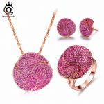 ORSA JEWELS Fashion Rose Gold Color Earrings & Ring & <b>Necklace</b> <b>Jewelry</b> Sets with Micro Paved AAA Cubic Zirconia for Women OS99