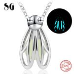 Authentic 925 sterling silver lovely firefly glowing pendant chain necklace European diy fashion <b>jewelry</b> <b>making</b> for women gifts