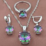 Round Multicolor Rainbow Zircon Women's 925 Sterling Silver <b>Jewelry</b> Sets Necklace Pendant Earrings Rings Free Shipping TZ0368
