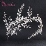 Bridesmaids Bride Tiara Crown Handmade Silver Leaf Wedding Headband Women Wedding Hair <b>jewelry</b> headpiece RE775