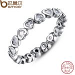 BAMOER Authentic 100% 925 Sterling Silver Love Heart Forever More Stackable Ring Clear CZ <b>Jewelry</b> New Year Presents PA7124