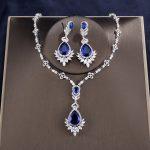 ZAKOL Quality Cubic Zirconia Big Drop Blue Bridal <b>Wedding</b> Evening Earring Necklace <b>Jewelry</b> Set For Women FSSP2014