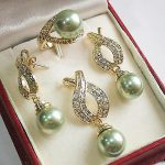 Women's Wedding 12mm Green Shell Pearl Pendant Necklace Earrings Ring Sets+ Chain>AAA Brida silver-<b>jewelry</b> real silver <b>jewelry</b>
