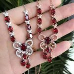 Natural red garnet stone Necklace natural olivine Pendant Necklace S925 <b>silver</b> trendy Luxury big butterfly women party <b>Jewelry</b>