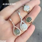 KJJEAXCMY Fine jewelry, 925 <b>silver</b> inlaid natural jade female set, simple and generous wholesale