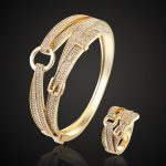 Three plated color Belt copper bangles & ring <b>jewelry</b> sets Women's Brand Cubic Zirconia Wedding love couple <b>jewelry</b> sets Aneis