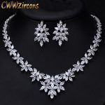 CWWZircons Luxury Cubic Zirconia Wedding <b>Jewelry</b> Sets Big Marquise Cluster Flower Bridal Costume <b>Necklace</b> Earrings Set T299