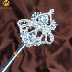 Vintage Floral Long Scepter Wands Clear Crystal Rhinestones Silver Handmade Prop Pageant Parade Costumes Party Accessoires
