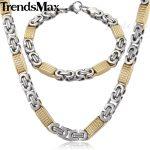 Trendsmax <b>JEWELRY</b> SET 8mm Mens Chain Necklace Silver Gold Tone Flat Byzantine Link Stainless Steel Necklace Bracelet Set KS167