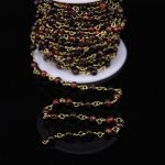 5Meters,Round Red Tiger eye Rosary Chain Charms,4mm Natural stone Bronze Brass Chains Fashion Bracelet Necklace <b>Jewelry</b> <b>Supplie</b>