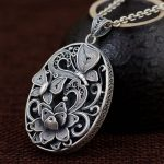 FNJ 925 Silver Round Pendant New Fashion Butterfly Flower 100% Pure S990 Solid Thai Silver Pendants for Women Men <b>Jewelry</b> <b>Making</b>