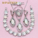WPAITKYS Trendy White Opal 925 Silver <b>Jewelry</b> Sets Women's Wedding <b>Necklace</b> Earrings Ring Bracelet Free Box