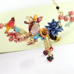 Chinese Anime Cactus Purple Crystal Festive Bird Complex Design <b>Necklace</b> & Pendant Women Enamel Choker Fashion Charm <b>jewelry</b>